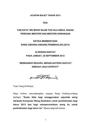 UCAPAN BAJET TAHUN 2013 Oleh YAB DATO' SRI ... - Mampu