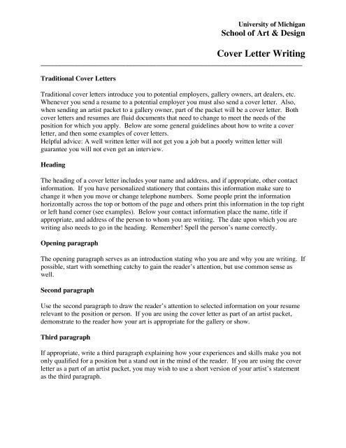 Cover Letter Writing - University of Michigan School of Art ...