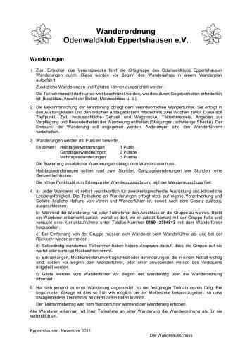 Wanderordnung Odenwaldklub Eppertshausen e.V.