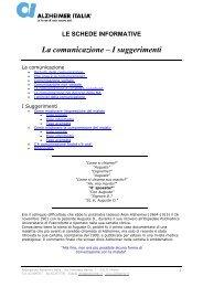 La comunicazione – I suggerimenti - Alzheimer Italia