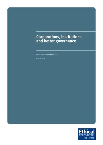 Corporations, institutions and better governance