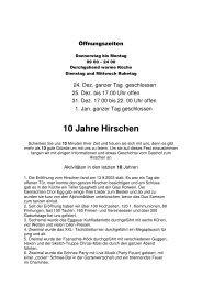 10 Jahre Hirschen 10 Tage Fest - Gasthof zum Hirschen