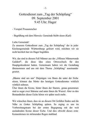 """Gottesdienst zum """"Tag der Schöpfung"""" - Männerrunde Gaildorf"""