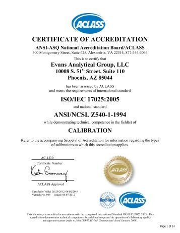 certificate of accreditation iso/iec 17025:2005 ansi/ncsl z540-1-1994
