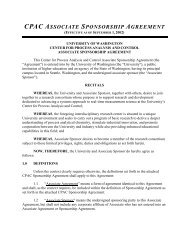 CPAC SPONSORSHIP AGREEMENT - University of Washington