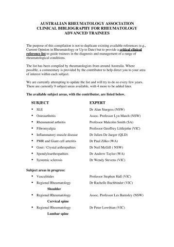 australian rheumatology association clinical bibliography for