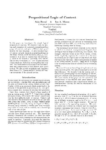 Propositional Logic of Conte2t Sa8sa Buva8c I Pan A ... - JLambda