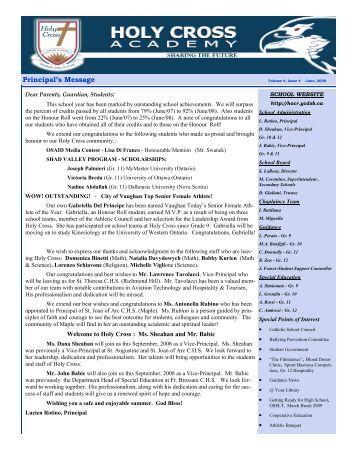 Newsletter June 2008.pub - Holy Cross Catholic Academy - the York ...