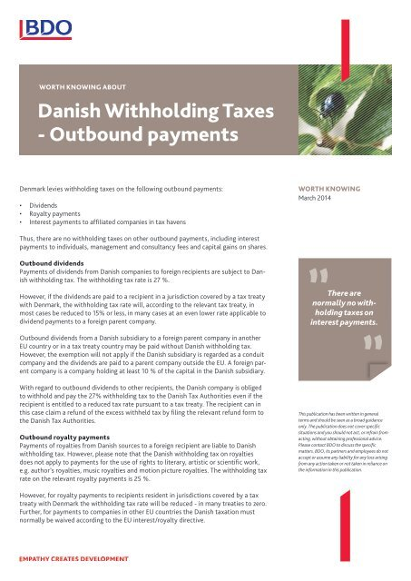 Danish Withholding taxes - outbound payments - BDO