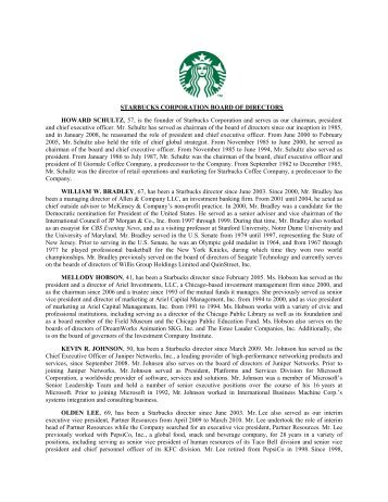 STARBUCKS CORPORATION BOARD OF DIRECTORS HOWARD ...