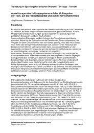 Auswirkungen des Haltungssystems auf das Wohlergehen der ... - SVT