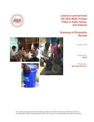 Lessons Learned from the Safe Water Project Pilots in India ... - Path
