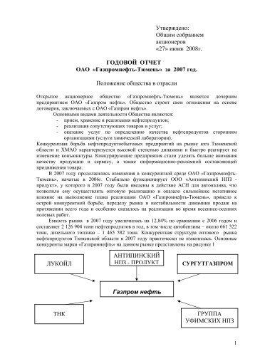 Годовой отчет за 2007 г. - Газпром нефть