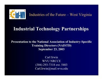 Industrial Technology Partnerships - Industries of the Future - West ...