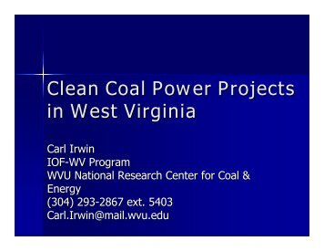 Clean Coal Power Projects in West Virginia - Industries of the Future ...