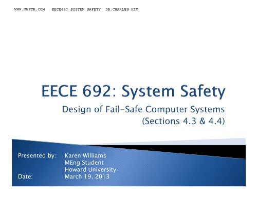 Design Of Fail Safe Computer Systems Sections 4 3 4 4 Mwftr