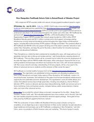 New Hampshire FastRoads Selects Calix to Extend Reach of ...