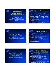 Diabetic Retinopathy The Diabetic Patient The Diabetic Patient