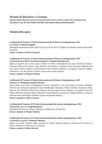 Schede delle opere - La Biennale di Venezia