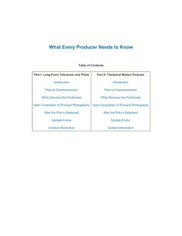 What Every Producer Needs to Know - Writers Guild of America, West