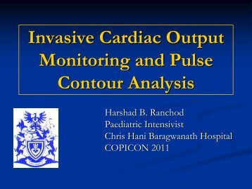 Invasive Cardiac Output Monitoring and Pulse Contour Analysis
