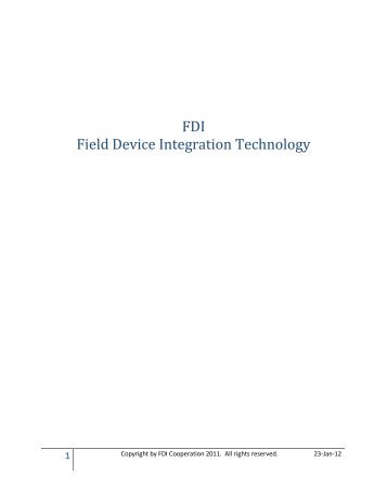 FDI Field Device Integration Technology - Automation.com