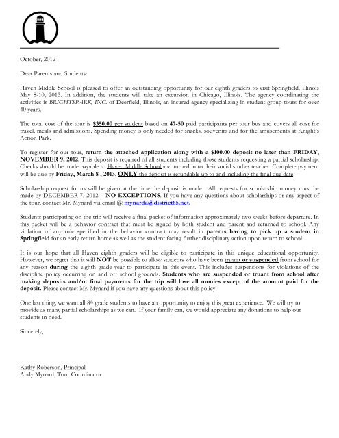 Springfield Parent Letter 2013 pdf - Haven Middle School
