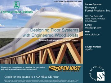 Designing Floor Systems with Engineered Wood Joists - Ron Blank ...