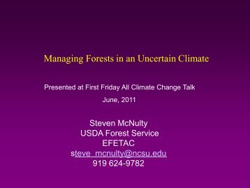 Managing Forests in an Uncertain Climate - Eastern Forest ...