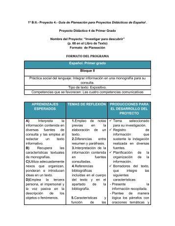 FORMATO DEL PROGRAMA Español. Primer grado Bloque II ...