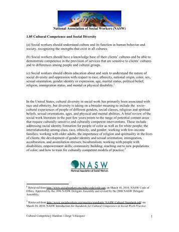 (NASW) 1.05 Cultural Competence and Social Diversity - PCCYFS
