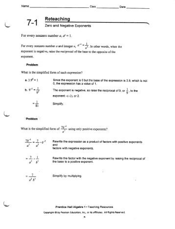 Discovering Zero and Negative Exponents Directions: Complete the ...