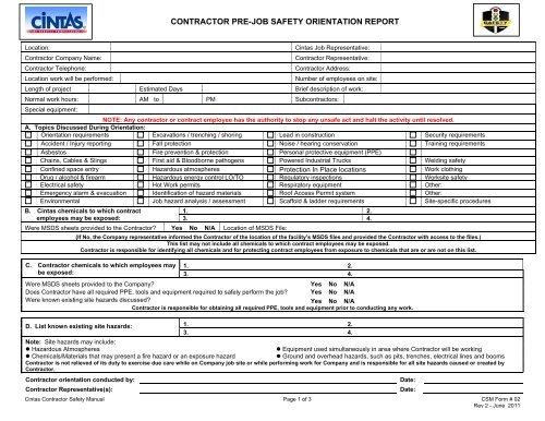 CONTRACTOR PRE-JOB SAFETY ORIENTATION REPORT - Cintas