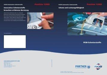 Preisliste 1/2009 Preisliste 1/2009 PKW-Schmierstoffe