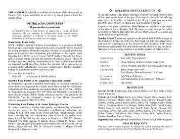 March 3 announcements - St. Clement's Episcopal Church