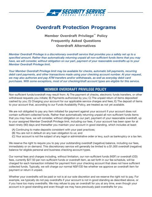 Overdraft Privilege Policy - Security Service Federal Credit