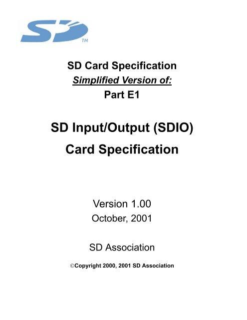 SD Input/Output (SDIO) Card Specification - SD Association