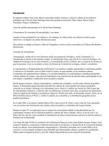 antropología de la Isla de Santo Domingo