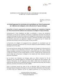 Le Conseil approuve les conclusions de la présidence sur l'état d ...