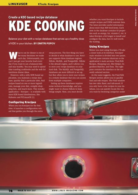 KDE COOKING - Linux Magazine