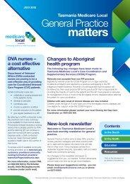July 2013 - Tasmania Medicare Local