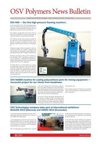 OSV Polymers News Bulletin