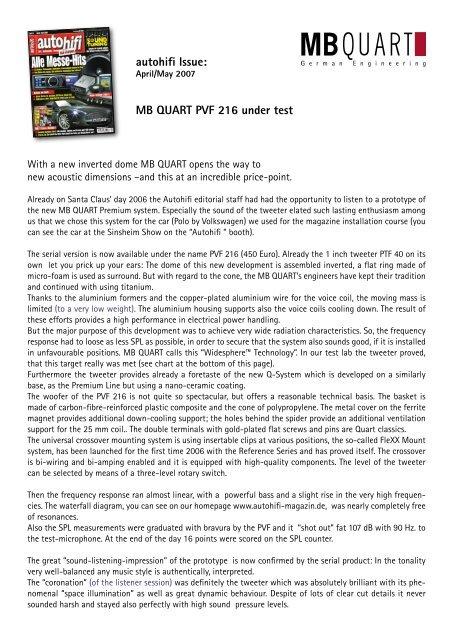 Autohifi Issue Mb Quart Pvf 216 Under Test Az Trading