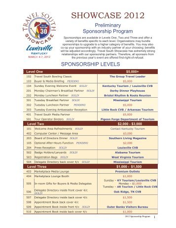 a complete list of available sponsorships! - Travel South USA