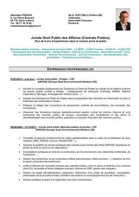 juriste droit des contrats publics cv sebastien
