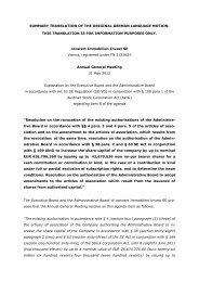 Draft resolution on the agenda item 8 - conwert Immobilien Invest SE
