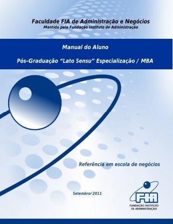 Faculdade FIA de Administração e Negócios Manual do Aluno Pós ...