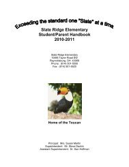 Slate Ridge Elementary Student/Parent Handbook 2010-2011