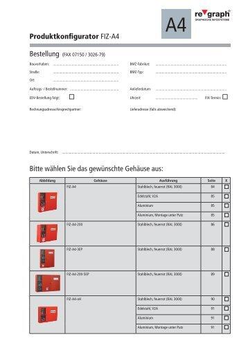Produktkonfigurator FIZ-A4 Bitte wählen Sie das gewünschte ...