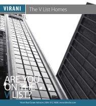 ARE YOU ON THE V LIST? - Virani Real Estate Advisors